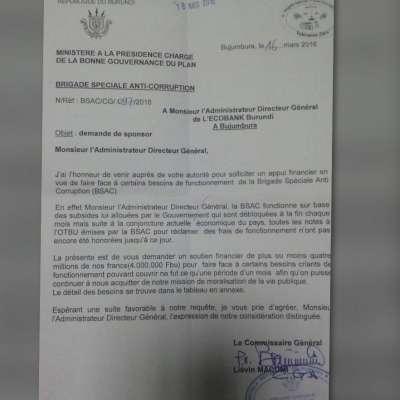 Demande d'aide de la Brigade anti-corruption
